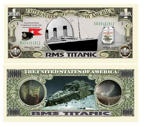 Titanic Collectible Million Dollar Bill Plus Bill Protector