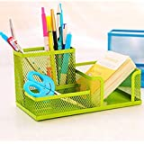 Creative Mesh 3 Compartments Collection Pen Holder Pencil Cup Container Cell Phone Holders Cosmetic Holder Desk Supply Caddies Sorter Organizer (Green)