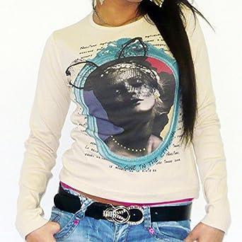 Heidi Beige : T-shirt Femme manches longues imprimé visage ONE IN THE CITY - Beige, M