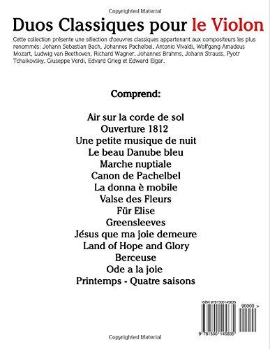Duos Classiques pour le Violon: Pièces faciles de Beethoven, Mozart, Tchaikovsky, ainsi que d'autres compositeurs