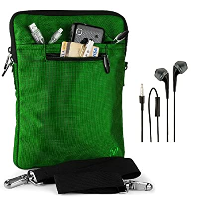 """VanGoddy Hydei Sleeve Modern Padded Bag Pack Cover w/ Shoulder Strap fits Amazon Kindle Fire HDX / HD 8.9"""" Smart Prime Tablet FOREST GREEN + Black Hands-free Earphones (Headphones with Microphone)"""