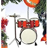 Red Drum Set Hanging Ornament Music Musical Instrument Ornament 3.5 inches
