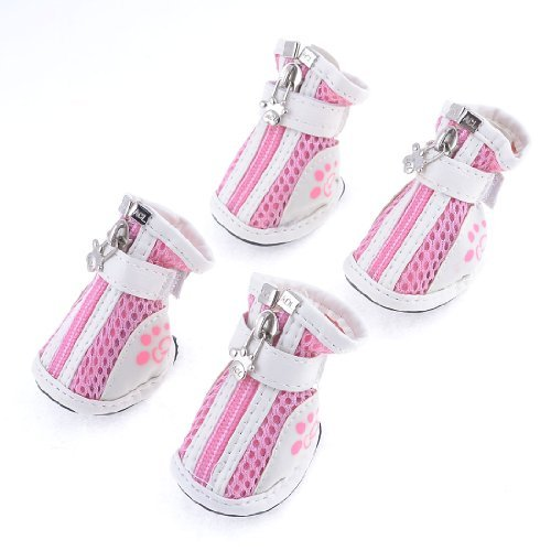 Dimart Dog Chihuaha Nonslip Rubber Sole Hook Loop Fastener Shoes White Pink 2 Pair M polar loop 2 pink