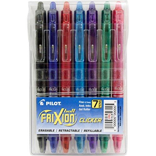 프릭션 클리커 지워지는 젤펜 7색상 세트 Pilot FriXion Clicker Retractable Erasable Gel Pens Fine Point