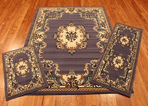 Abrahami Sultan 3-piece Area Rug Set Light Blue Floral -Includes Area Rug -Runner - Scatter Rug 8223