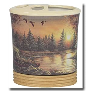 Duck hunting lodge bath home decor toothbrush for Hunting bathroom decor