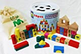 Wooden Blocks Shape Sorter with Numbers 50 Pieces in Bag and Bucket
