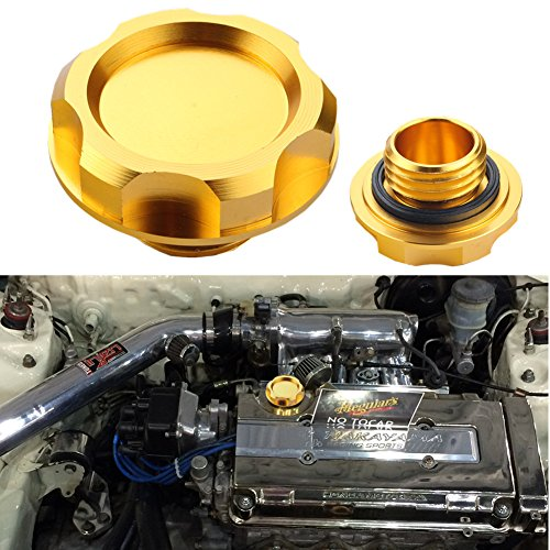 Dewhel Billet Engine Oil Fuel Filler Tank Cap Cover For Honda Acura Civic TL Color Gold (Jdm Engine Oil Cap compare prices)