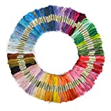 PIXNOR 100 Skeins of 8M Multi color Soft Cotton Cross Stitch Embroidery Threads Floss Sewing Threads Random Color