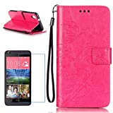 CE - HTC Desire 626 PU Leather case (With Free Screen Protector) Sireken Beautiful Butterfly Flowers Embossed Printed Design Magnetic Flip Folio Stand Feature with Lanyard Wrist Strap and Credit Card Slots Soft Rubber Bumper Protective Faux Leather Wallet Cover Case for HTC Desire 626-Rose Red