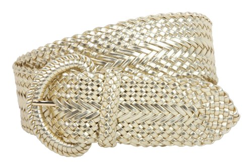 2 Inch Wide Hand Made Soft Metallic Woven Braided Round Belt Color: Gold Size: S/M - 37 END-TO-END