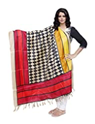 IndiWeaves Women Bhagalpuri/Tussar Silk Digital Print Black+Red Dupatta