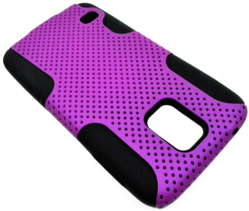 Mylife (Tm) Violet Purple And Dark Black - Perforated Mesh Series (2 Layer Neo Hybrid) Slim Armor Case For The New Galaxy S5 (5G) Smartphone By Samsung (External Rubberized Hard Shell Mesh Piece + Internal Soft Silicone Flexible Gel)