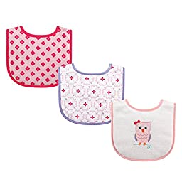 Luvable Friends 3 Piece Drooler Bibs with Fiber Filling, Owl