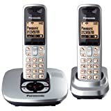 Panasonic KX-TG6422ES DECT Twin Digital Cordless Phone Set with Answer Machine in Silverby Panasonic Phones