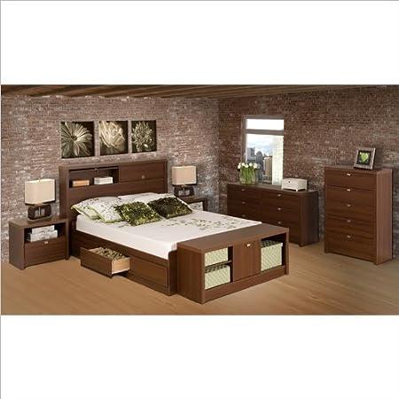 Prepac Series 9 Designer 2 Piece Bedroom Set in Medium Brown Walnut - Queen Bed