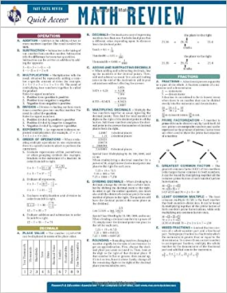 Math Review - REA's Quick Access Reference Chart (Quick Access Reference Charts)