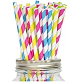 Secret Life(TM) Yellow, Lime Green, Blue and Fuchsia Striped Paper Straws, 100% Biodegradable Color Straws Set + 100% Biodegradable Container Box 100ct (PSCFPR02)