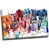 """Colorful San Francisco Urban Watercolor Painting 24""""x36"""" Wall Decoration Digital Art Image Printed on Canvas Stretched and Framed Ready to Hang from Picture it on Canvas"""