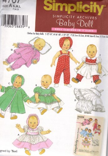 Simplicity Pattern 4707 for Baby Doll Clothes in Three Sizes (Bitty Baby Sewing Patterns compare prices)