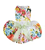 Dog Dresses For Small Dogs,Lillypet® Cute Puppy Pet Dog Cat Princess Dress Small Dog Floral Dress Clothes (M, White)