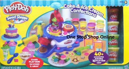 Play-Doh Sweet Shoppe Collection - Play-Doh Sweet Shoppe Cake & Ice Cream Confections 40+ Accessoried + 10 Cans of Play Doh