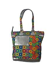 Stylocus HandBag Stylish Floral Print Grey Chanderi Tote Bag Multi Color