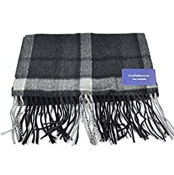 Croft & Barrow Plaid Cashmere Fringed Ends Scarf for Men (Gray/Black)