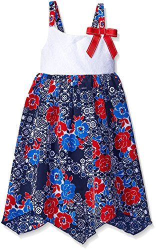Youngland Little Girls Crochet Knit To Koshibo Hanky Hem Sundress, Red/White/Blue, 4