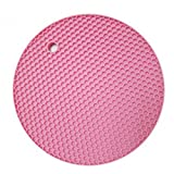 KARP Round Shape Silica Gel Anti Hot Heat Resistant Pot Holder Disc Pads Car Dashboard Anti-Slip-resistant Pad Dining Table Mat Placemat Coasters - Pink Color