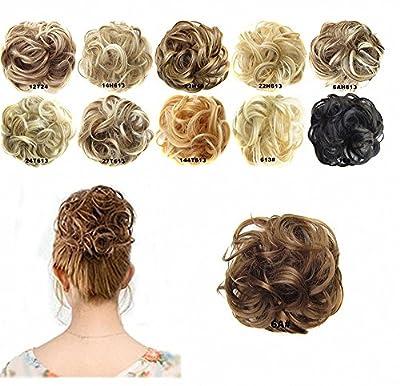 FESHFEN Scrunchy Scrunchie Bun Updo Hairpiece Hair Ribbon Ponytail Extensions Drawstring Hair Extension Light Auburn Scrunchie Hairpiece