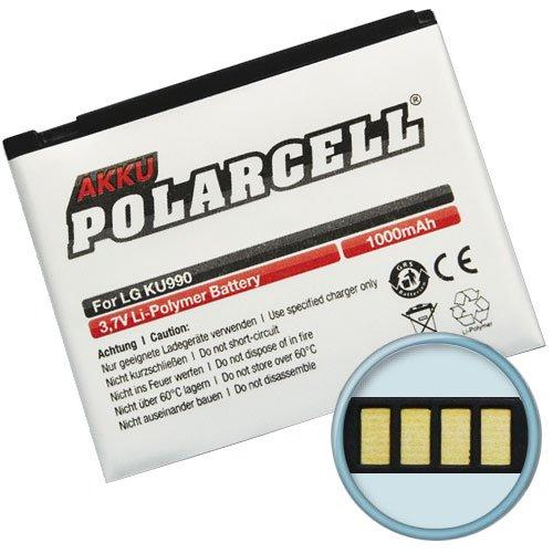Polarcell Li-Polymer Akku, 1000mAh, für LG Viewty (KU990/KU990i) Renoir (KC910) Maize (KB770) HB620T Arena (KM900)