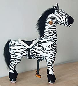UFREE Zebra, Ponycycle, Giddyup N' Go Go Pony , Height 35'', Cowboy Ride on Rocking Horse Toy, for Ages 2-5 Years, Cool and Fun Childhood Experience