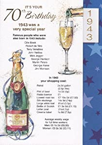 Navy 70th Birthday Card - 1943 Was A Very Special Year - 2013 Year Card - FREE UK POSTAGE