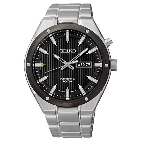 Seiko Kinetic Black Dial Stainless Steel Watch Smy151