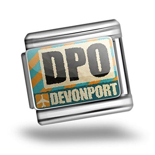 Italian Charm Airportcode Dpo Devonport Bracelet Link - Neonblond