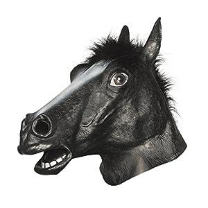 Latex Full Head BLACK HORSE Mask w/ Faux Fur Mane