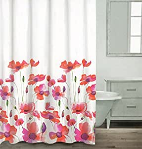 Amazon Com Caro Botanical Nature 100 Cotton Shower Curtain Floral Poppy Seed Flower Design