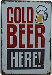 Yours Dec Metal Tin Sign Cold Beer Here Paiting Tin Sign Bar Pub Home Wall Decor Retro Metal Art Poster