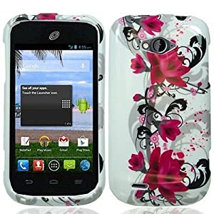 For ZTE Z750C Savvy by Straight Talk Hard Snap-on Case Red Flower on White