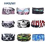 KALILY 6PCS/9PCS Headband Bandana - Versatile 16-in-1 Sports & Casual Headwear -Neck Gaiter, Balaclava, Helmet Liner, Face Mask for ATV/UTV riding, Seamless Lightweight Headband with UV Protection