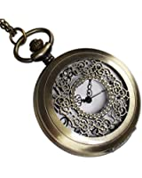 """Mighty Gadget (R) Vintage Style Antique Pocket Watch with 31"""" Chain in Antique Bronze Gold Finish (Free Replacement Lithium Battery Included)"""