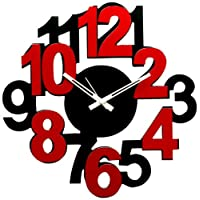 Panache Big Number Aluminium Wall Clock (Black/Red)