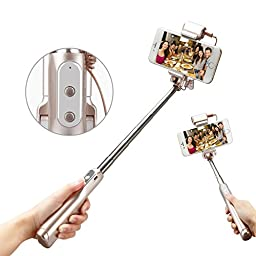 Accmor Cell Phone Selfie Stick, Build-in Bluetooth Remote Shutter Stick, 360 Degree LED Fill Light & Mirror Electronic Accessory for iPhone Android (32.5 in)
