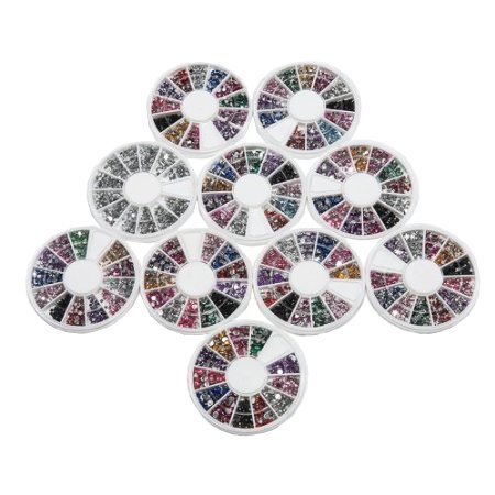 10 X Different Styles Of High Quality Bright Colourful Flat Back Nail Art Crystal Rhinestone Gems Scrapbooking Crafts By Kurtzy Tm front-141727