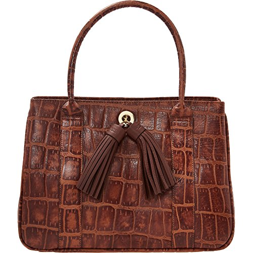 Womens Osprey London Brown Crocodile Effect Tote Bag Ladies
