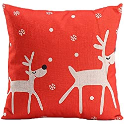 niceEshop Creative Fashion Cotton Linen Square Decorative Throw Pillow Cover Colored Drawing Red Base Reindeer