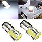 AUDEW 2 X 1157 T25-BAY15D COB LED Ampoule Auto Feu Freins/Conduite/Arrière/Recul/Clignotant/Signal P21/5W S25 Voiture Lampe DC 12V Blanche Lumière 6500-7000K