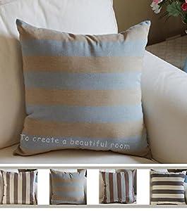Amazon.com - TangDepot Decorative Handmade Striped Cotton Throw Pillow Covers /Pillow Shams ...