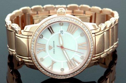 AQUA MASTER 0113MUXBRFB - Reloj para hombres, correa de metal color rosa